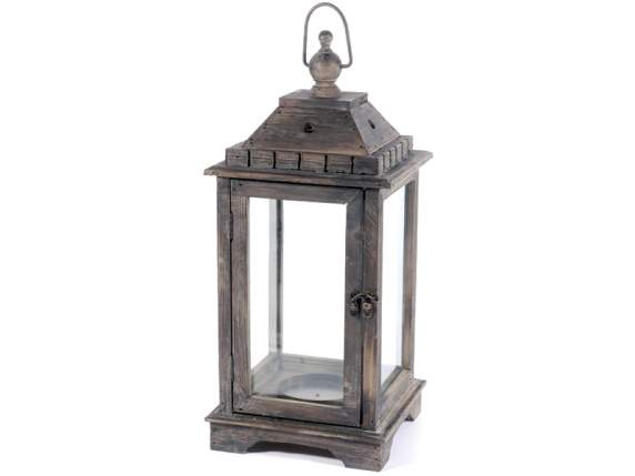 Set 3 lanterne grandi portacandele in legno semilandia for Lanterne in legno