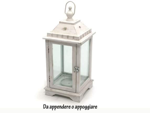 Set 3 lanterne bianche in legno portacandele semilandia for Lanterne bianche